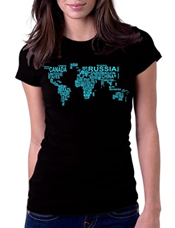 Amazon womens world map country art tee t shirt clothing world map country art womens tee t shirt small black gumiabroncs Gallery