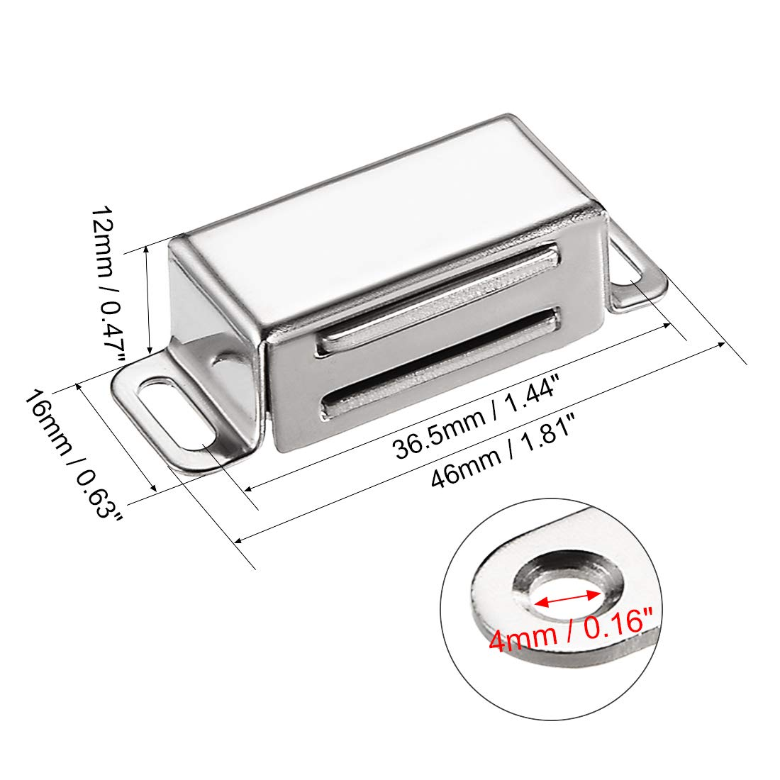 sourcing map 5Pcs Door Cabinet Magnetic Catch Magnet Latch Closure Stainless Steel 40mm Length