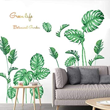 Uk Removable Wall Stickers Tropical Plant Leaves Pattern Home Room Wall Decal Home Decor Home Garden