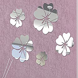 DIY - Do It Yourself New Wall Mirror Stickers, Flowers, Made of Acrylic Material Like Mirror, Modern Design for Home Living Room Bedroom Kitchen Baby Child Novelty Luxury Crystal Wall Silent Watch Extra Large Clocks, Silver
