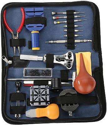 Zerone - Juego de 21 herramientas de reparación de relojes, kit de herramientas profesional con estuche de transporte: Amazon.es: Relojes