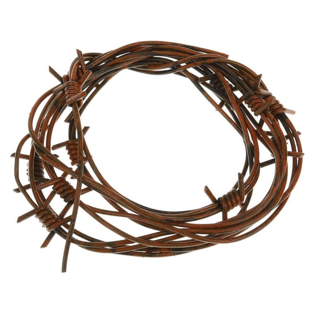 Amazon.com: 8\' Fake Rusted Barbed Barb Wire Halloween Decoration ...