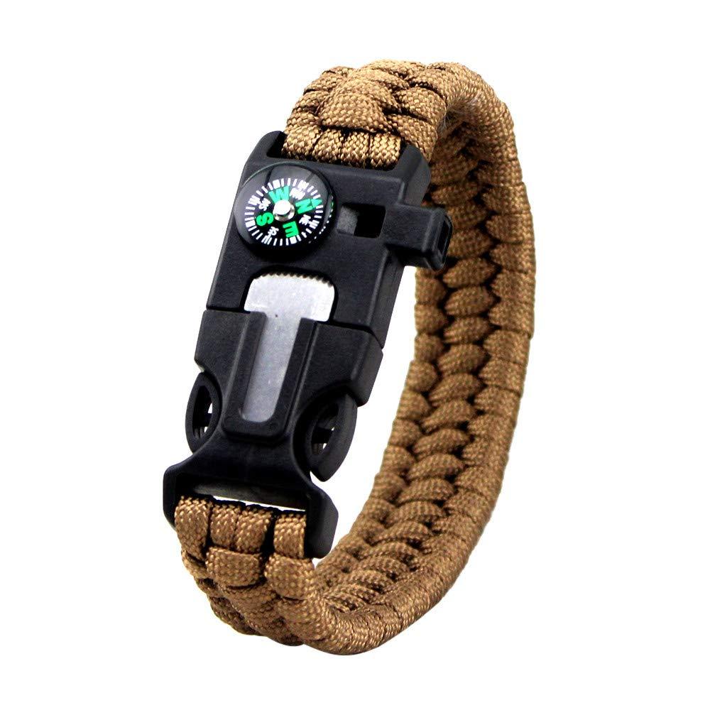 Survival Bracelet Compass Flint Fire Starter Scraper Whistle Gear Kits Durable (O)
