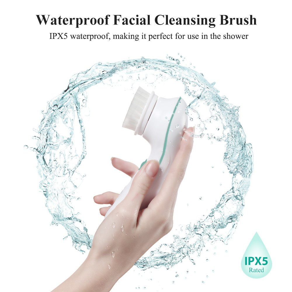 TOUCHBeauty Waterproof Face Brush Set for Skin Cleaning and Exfoliating with 2 Speed,3 Different Cleansing Brush Head for Oily Sensitive Skin TB-0759A