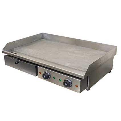 Chef Hub Commercial Double Sided Counter Top Electric Stainless Steel Griddle Flat Hotplate Barbeque Griddle Kitchen Grill Fried Pans 4 4kw Ideal