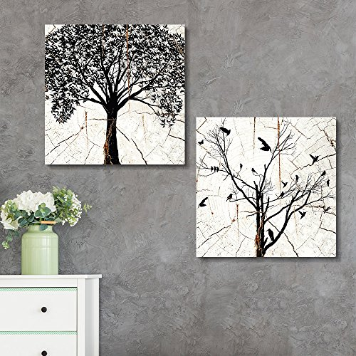 2 Panel Square Tree Silhouette Wood Effect x 2 Panels
