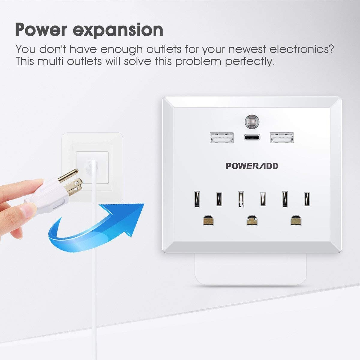 Poweradd Wall Adapter Surge Protector with 3 AC Outlet, 2 USB Charging Ports, a Type-C port, and a Warm White LED Dusk-To-Dawn Night light, White