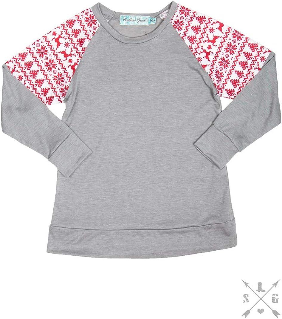 Girls Red Winter Print Sleeve Inset on Grey Body