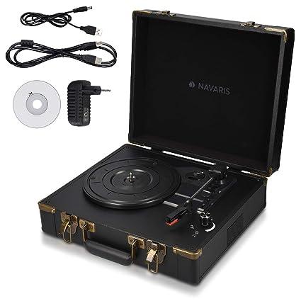 Navaris Tocadiscos Retro con Forma de Maleta - Giradiscos con Altavoces incorporados y grabación a MP3 - Tornamesa con Puerto USB en Negro-Negro