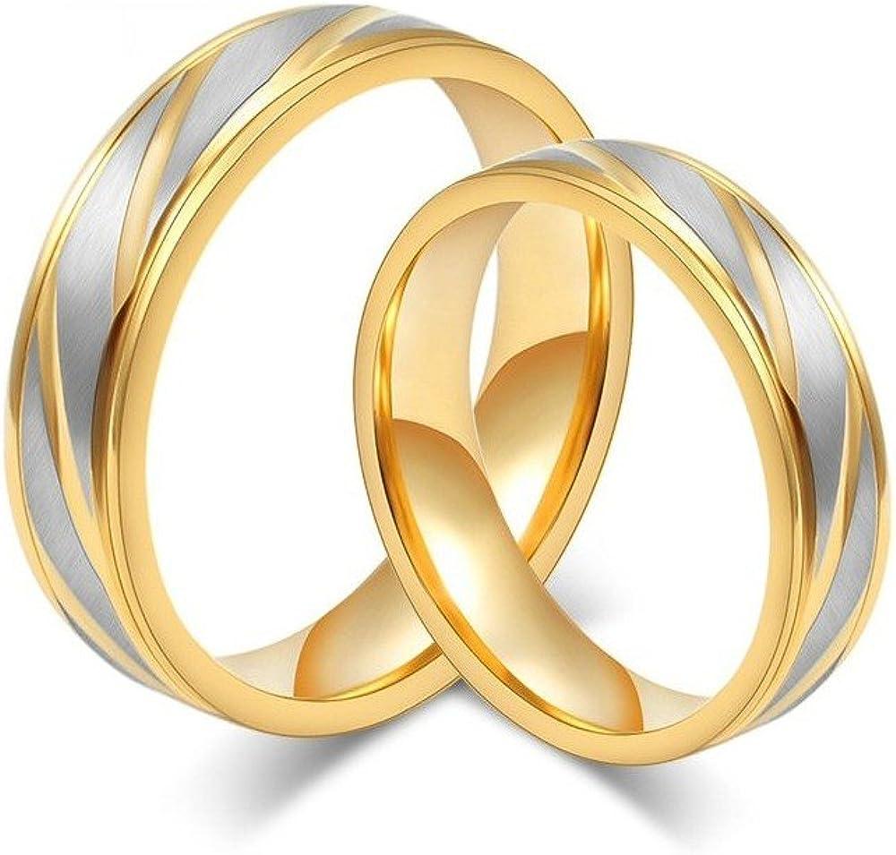 BOBIJOO JEWELRY Alliance Bague Anneau Dor/é Or Fin Acier Inoxydable Bross/é Mariage Couple Mixte