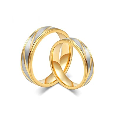 1f92f9265a3 BOBIJOO Jewelry - Alliance Bague Anneau Doré Or Fin Acier Inoxydable Brossé  Mariage Couple Mixte  Amazon.fr  Bijoux