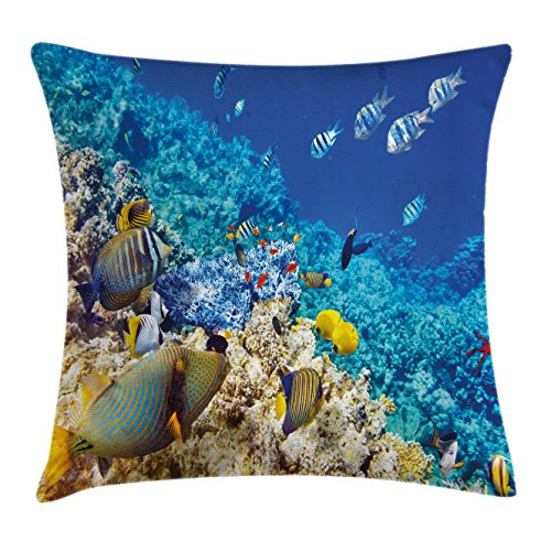 Ocean Decor Throw Pillow Cushion Cover by Ambesonne, Barrier Reefs Covered Sea with Lagoon Zebrafish Anemonefish Picture, Decorative Square Accent Pillow Case, 20 X 20 Inches, Turquoise Light (Lagoon Pillow)