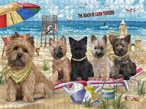 Pet Friendly Beach Cairn Terriers Dog Puzzle with Photo Tin PUZL49608 (500 pc. 14