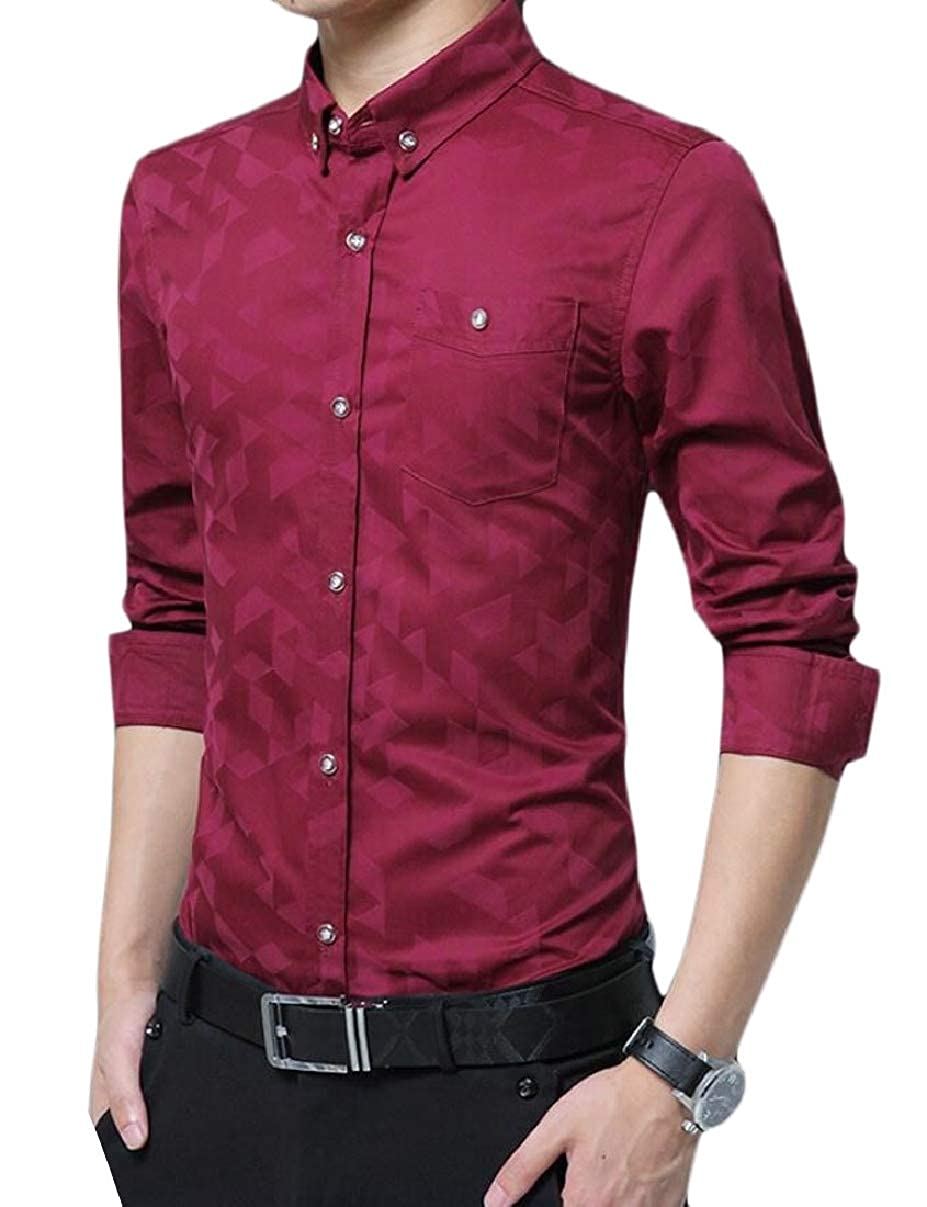 ZXFHZS Mens Print Slim Fit Fleece Thick Long Sleeve Button Down Dress Shirts