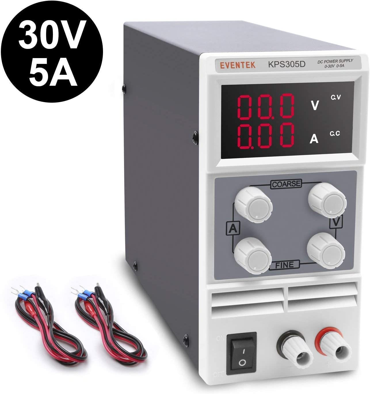 Fuentes de Alimentacion Regulables DC 0-30V / 0-5A Eventek Regulable Digital Ajustable, para Laboratorio, Reparación General,Hogar.