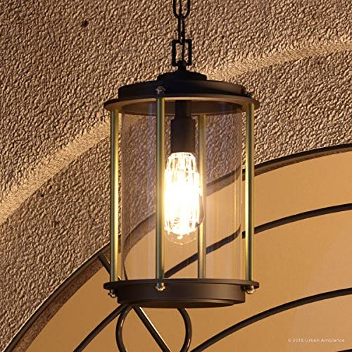 Luxury Vintage Outdoor Pendant Light, Medium Size 15.875 H x 9.75 W, with Industrial Chic Style Elements, Architectural Bronze Finish, UHP1092 from The Durham Collection by Urban Ambiance