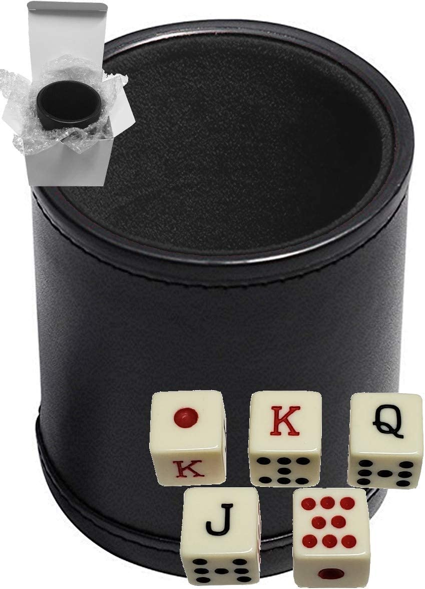 Set of 16mm Poker Dice Squared Corners and Black PU Leather Dice Cup Plush Velvet Lined Gift Boxed
