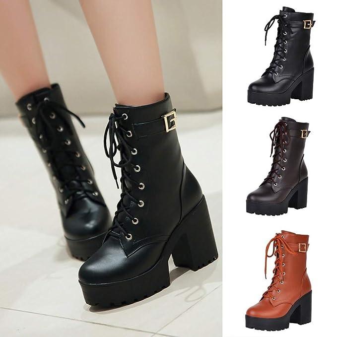 Botas, JiaMeng Botas de Mujer Zapatos Botines con tacón Grueso Botas con tacón Alto Botas con Cordones y Bajos Gruesos: Amazon.es: Ropa y accesorios