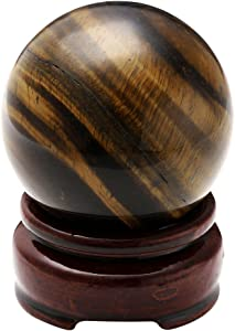 """Jovivi 2""""(50mm) Healing Crystal Natural Tiger Eye Gemstone Ball Divination Sphere Sculpture Figurine with Wood Stand"""