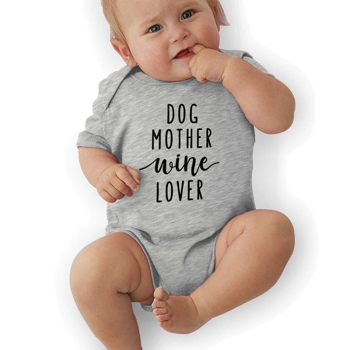 Dog Mother Wine Lover Infant Baby Girl Boy Romper Jumpsuit Short Sleeve Bodysuit Tops Clothes