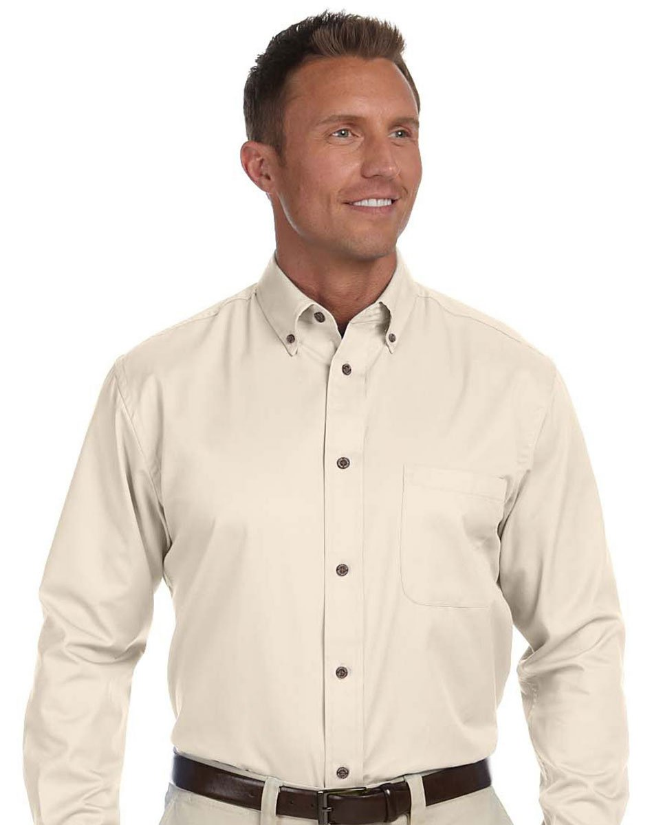 Harriton Mens Easy Blend Long-Sleeve Twill Shirt with Stain-Release 5XL CREME