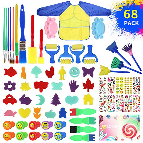 Painting Kits for Kids,Early Learning Kids Paint Set,Paint Sponges for Kids,68PCS Mini Flower Sponge Paint Brushes and Toys. Assorted Painting Drawing Tools in a Clear Durable Storage Pouch (68PCS)