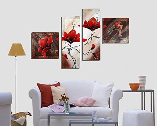 Art-Rustic Flower Wall Art,Hand Painted Abstract Flower Paintings