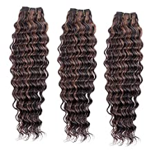 """Double Drawn 18"""" 339g/3Bundles New Deep Wave Curly Hair Weft for Black Women 7A+ 100% Real Natural Brazilian Virgin Remy Human Hair Weave Extensions Full Head Natural Black Dark Blonde(#P1B.30)"""