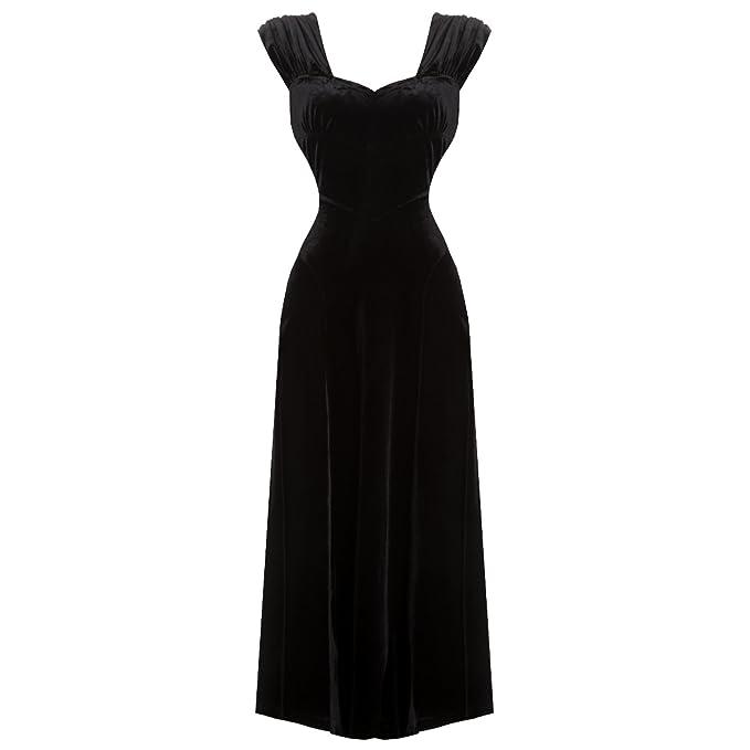 Hell Bunny Geraldine Largo Terciopelo Negro Años 20 1930s Gótico Steampunk Vestido de Noche - Negro
