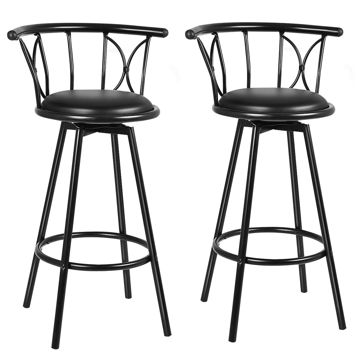COSTWAY Bar Stools, Modern and Classic Rotatable Counter Pub PVC Leather Chairs, Round Padded Seat with Footrest Back, Bar Pub Dining Room Kitchen Home Furniture Black, Set of 2