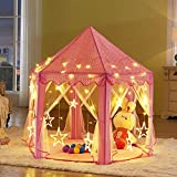 UthTent Kids Pink Princess Castle Playhouse With Big Star Lights Play Tent For Girls Indoor Outdoor