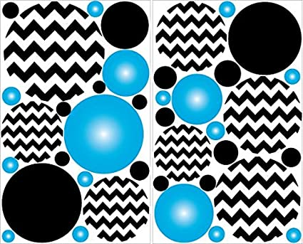 Amazoncom Blue And Black Chevron Polka Dots Wall Decals Stickers
