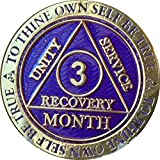 3 Month AA Medallion Reflex Purple Gold Plated 90 Day Chip