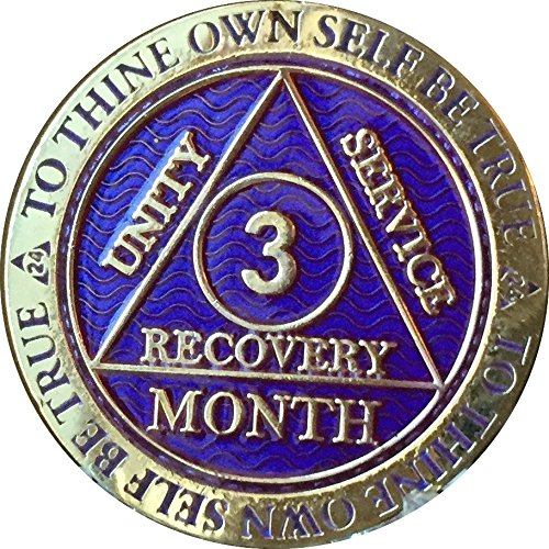 3 Month AA Medallion Reflex Purple Gold Plated 90 Day Chip ()