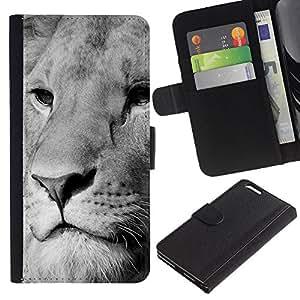 KingStore / Leather Etui en cuir / Apple Iphone 6 PLUS 5.5 / León Blanco Negro Hocico Majestic Animal