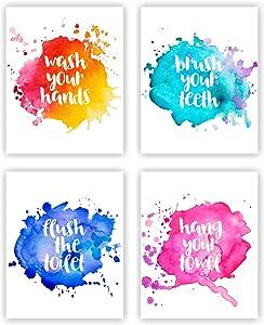 Unframed 8X10 Set of 4 Funny Bathroom Wall Art Decor Wash Flush Brush Colorful Typography Watercolor Art Print Inspirational Wall Art for Kids Room Nursery Decor wgn223