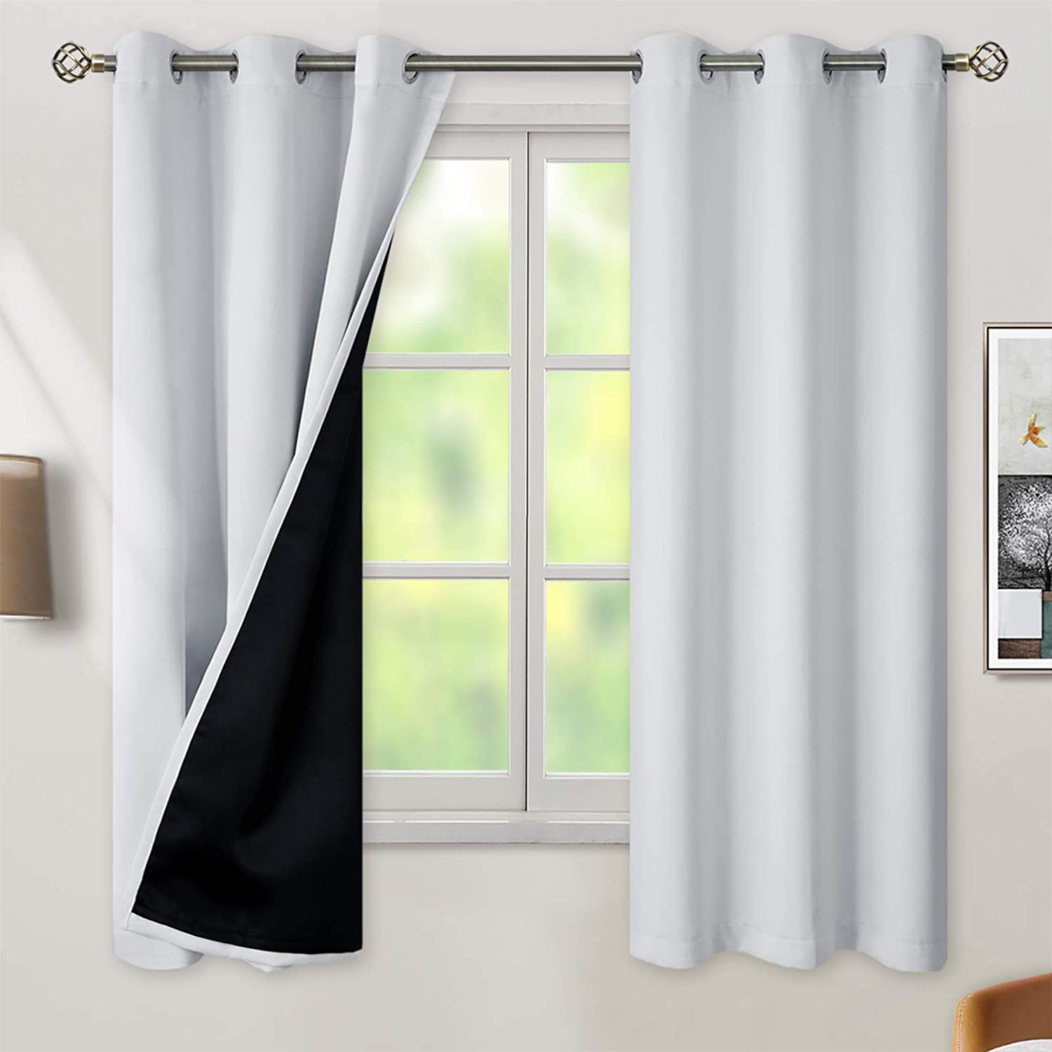 BGment Thermal Insulated 100% Blackout Curtains for Bedroom with Black Liner, Double Layer Full Room Darkening Noise Reducing Grommet Curtain ( 42 x 63 Inch, Greyish White, 2 Panels )