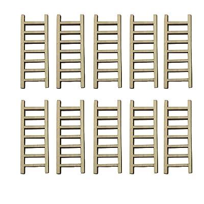 Tophappy Mini Ladders Fairy Garden Accessories, Wood Step Ladder Set Micro Landscape Accessories for DIY Dollhouse Décor (10 Pcs Ladder) : Garden & Outdoor