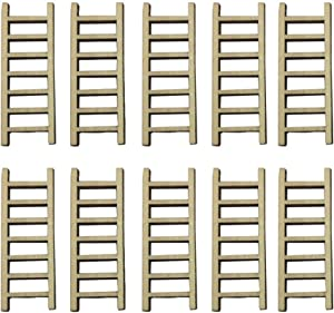 Tophappy Miniature Fairy Garden Wood Step Ladder Set Micro Landscape Accessories for DIY Dollhouse Décor (10pcs Ladder)