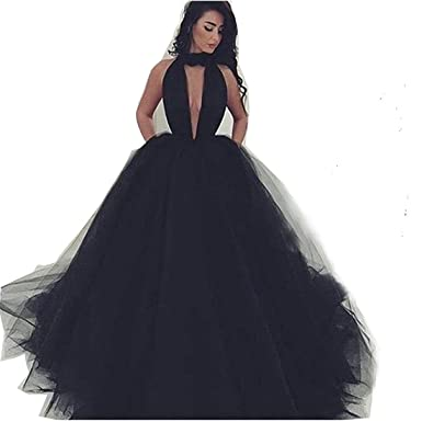 Siaoryne Black Halter Ball Gown Prom Dress for Evening Party Long Black 2