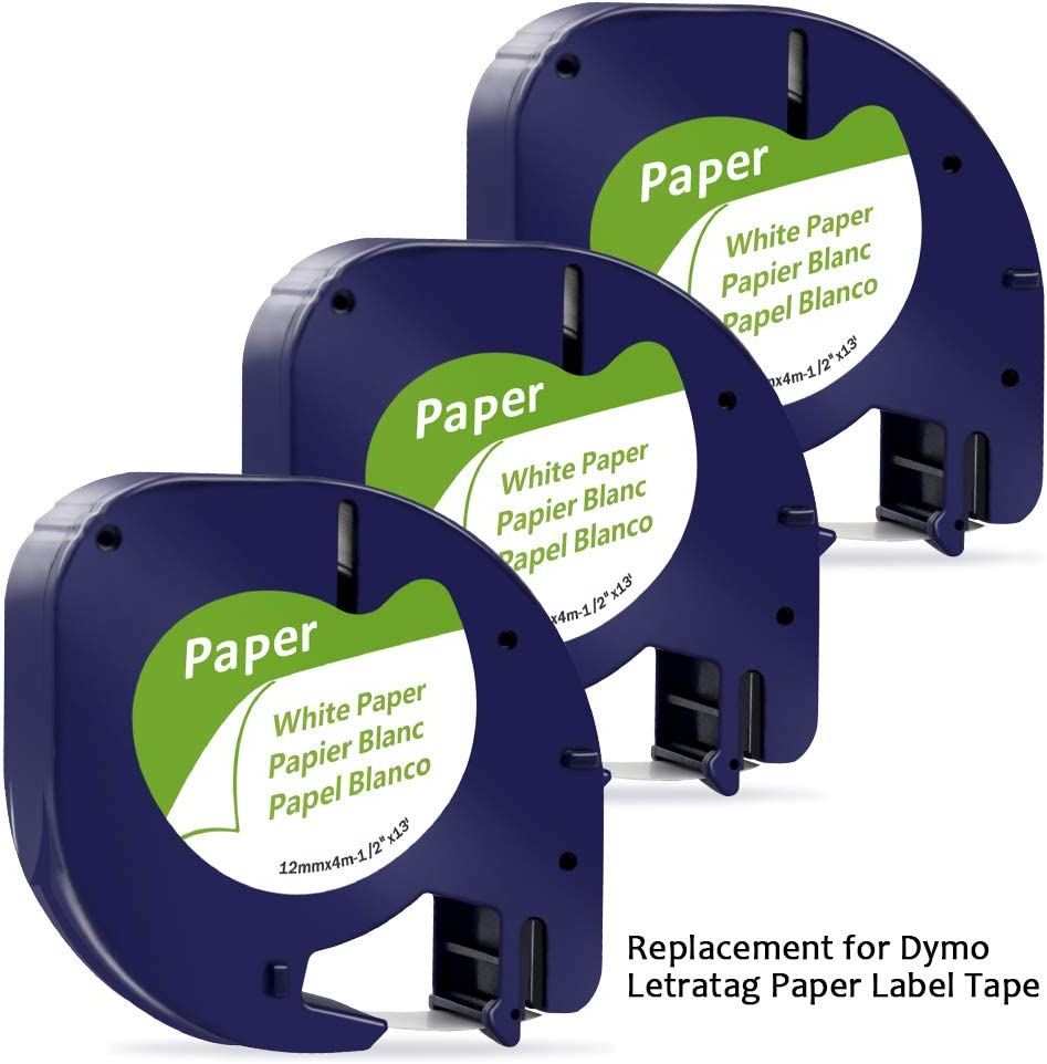 12mm x 4m MarkField Compatible Label Replacement for Dymo Letratag 91200 S0721520 Paper White Tape Work for DYMO Letratag LT-100H LT-100T LT-110T QX50 XR XM 2000 Plus 5-Pack