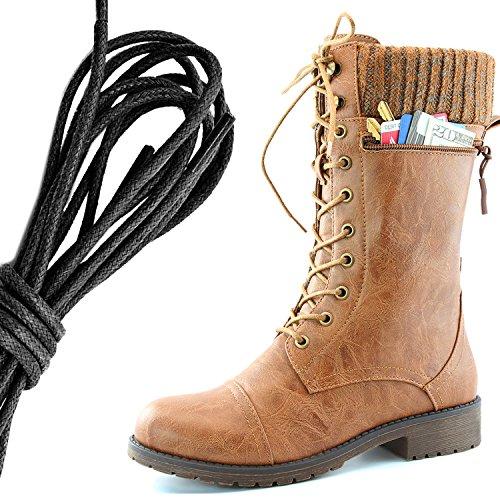 Dailyshoes Womens Style De Combat Lacets Cheville Bottine Bout Rond Militaire Knit Carte De Crédit Couteau Argent Portefeuilles De Poche, Noir Tan Pu
