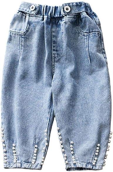 Nobrand Blue Jeans Para Ninos Pantalones De Mezclilla Para Ninos Pearl Pantalones Sueltos Para Ninas Pequenas Amazon Es Ropa Y Accesorios