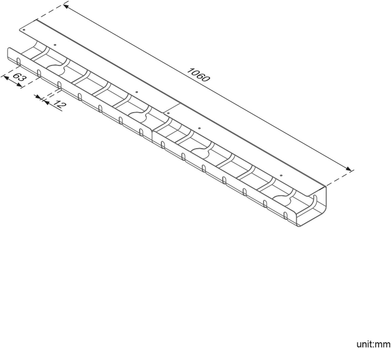 Kabelf/ührung eckig Kuba Slim Line L/änge 760 mm Kabelschlauch schwarz Made in Germany