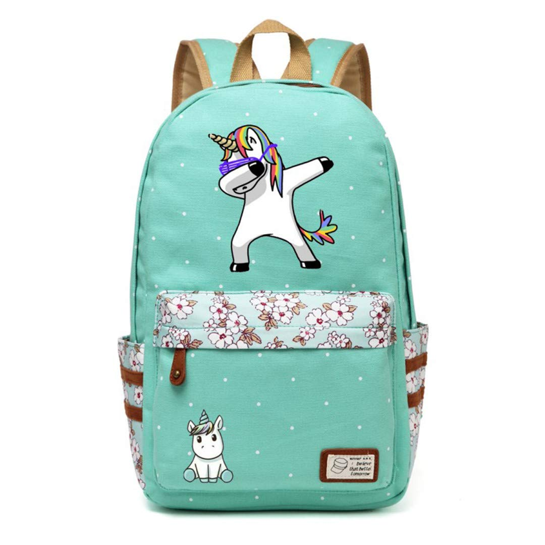 Green2 One size Cute Unicorn Cartoon Backpack for Women Girls Canvas Bag Flowers Wave Point Rucksacks C
