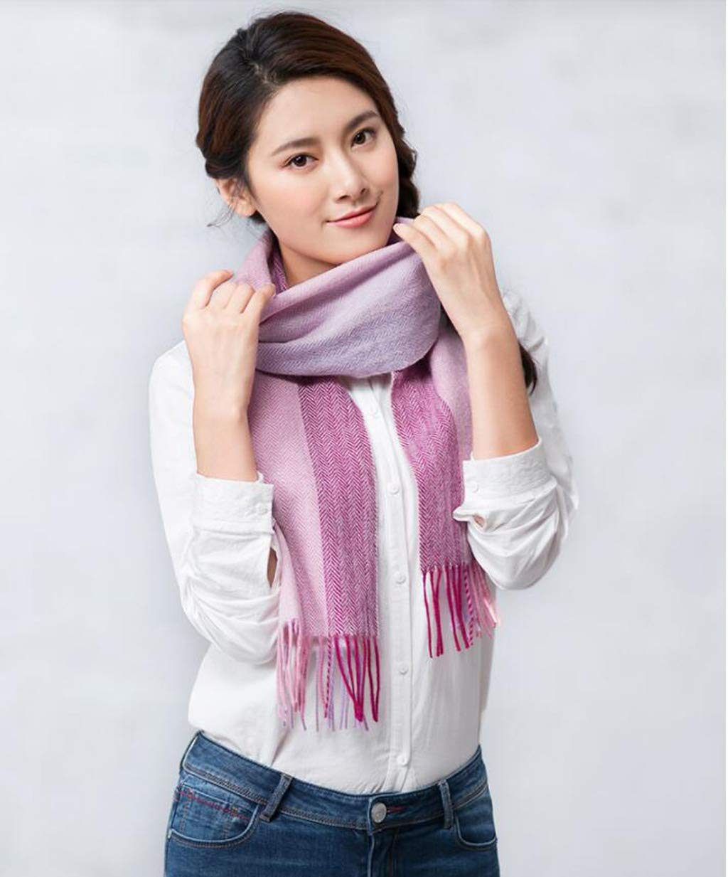 C JUN Wool Scarf Female Winter Warm Thick Versatile Shawl Dual Purpose (color   C)