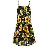Plus Size Mini Dress,Womens Sunflower Print