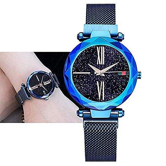 Reloj para Mujer Reloj con imán Reloj de Cuarzo Reloj de Pulsera Starry Sky Dial Diamante