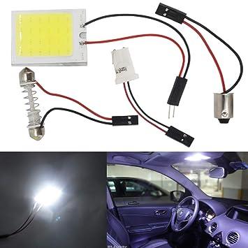 Luces LED para interior de coche con T10 BA9S adaptador de festón luces LED para interior de coche lámpara de panel de luz 24 - COB 12 V