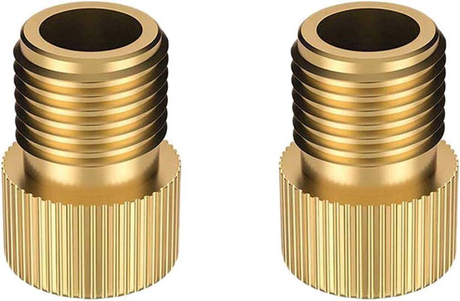 Adaptador de latón de válvula de bicicleta de Presta a Schrader, 2 unidades